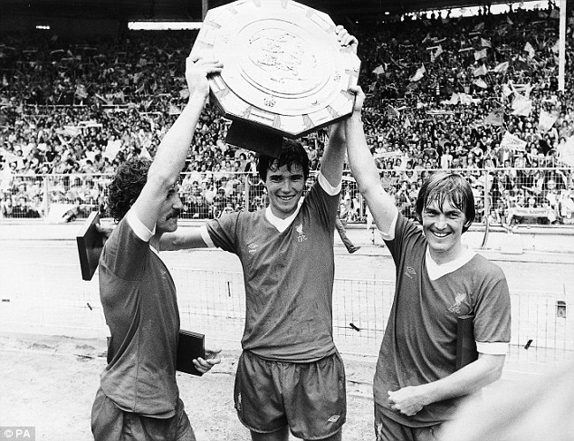 Start as you mean to go on: Souness, Hansen and Dalglish lift the FA Charity Shield at Wembley after beating West Ham in 1980