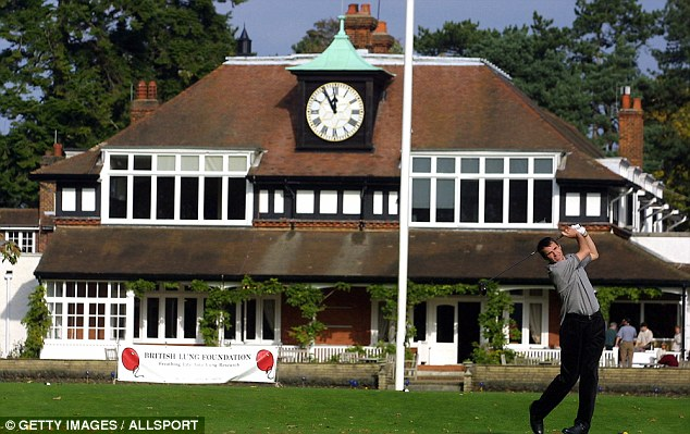 In the swing: Hansen is a golf fanatic - here he tees off at Berkshire's world famous Sunningdale club in 2001