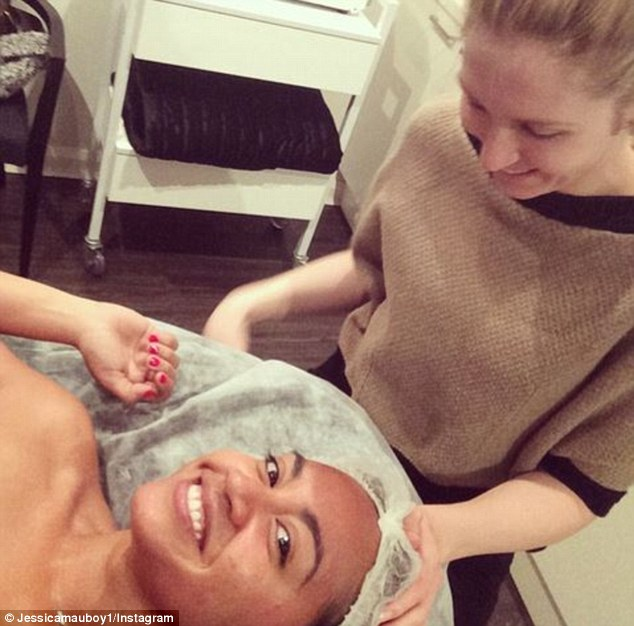 Getting the star treatment: Jessica Mauboy shared the results of her most recent visit to skin therapist Melanie Grant's Double Bay clinic on social media