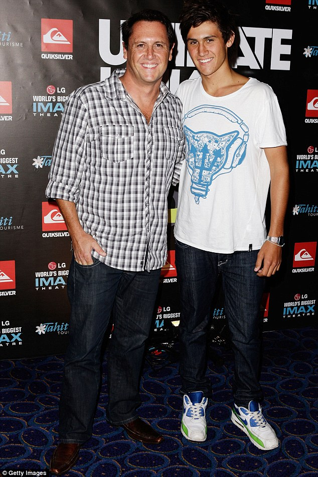 Best friends: The presenter is so close to his son the pair have matching tattoos - they are pictured here at the premiere of the Kelly Slater documentary Ultimate WaveTahiti in 2010