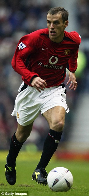 True red: Phil Neville was appointed first team coach at Manchester United last summer