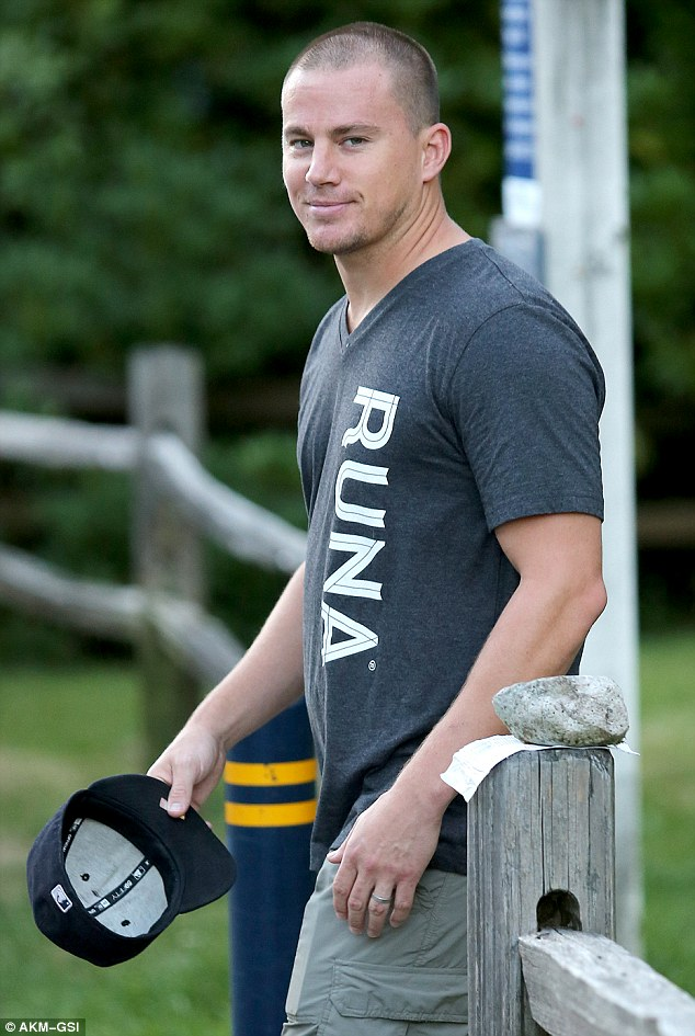 Supportive: Channing Tatum, 34, was spotted in Vancouver on Wednesday, where wife Jenna Dewan is currently filming Witches Of East End