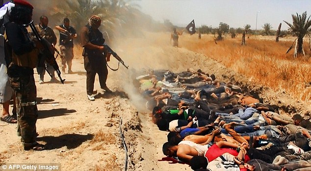 Executions: ISIS themselves has also been attacked for carrying out even more brutal executions, such as the ones from mid-June pictured above where militants marched up and down rows of bodies shooting them