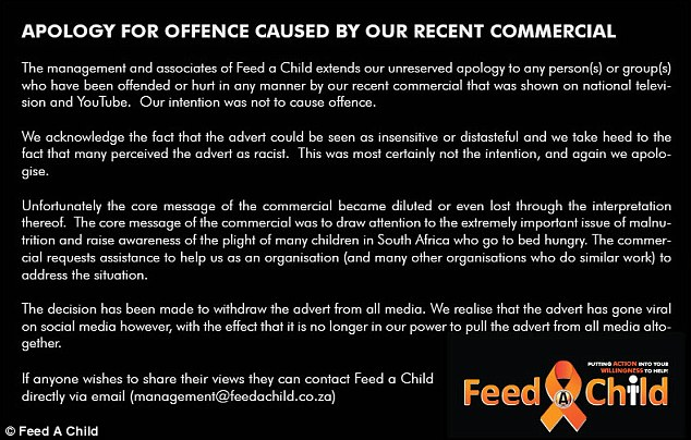 The charity apologised for the advertisement claiming their core message had been 'diluted or lost altogether'