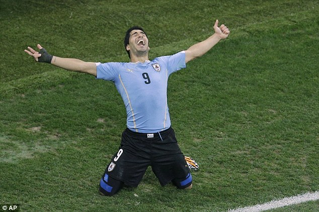 Haunted: The 27-year-old scored twice for Uruguay against England at the World Cup in Sao Paulo