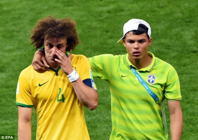 David Luiz, pictured left with Thiago Silva, was so touched by Ana Luz's letter of support that he posted it on Instagram