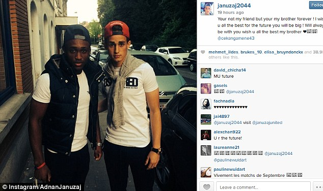 Goodbye message: Adnan Januzaj posts a snap of himself with former United midfielder Charni Ekangamene