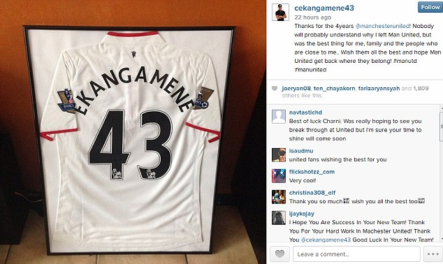 Old shirt: Ekangamene used to wear the No 43 shirt at Manchester United