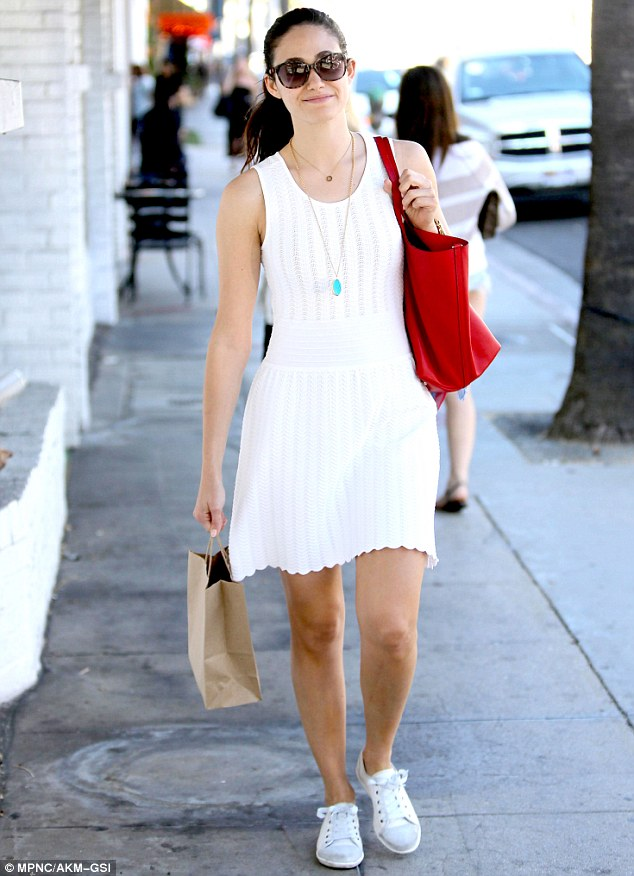 Favourites? The Shameless star wore the same necklace, handbag, sunglasses and white shoes on Friday as she did Saturday