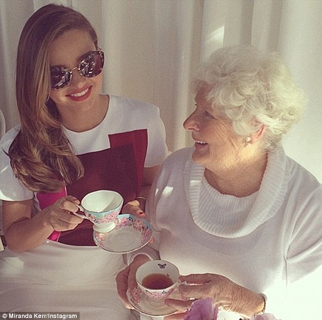 Famous face: The business savvy model sites her grandmother Ann as an role model for her life as a mother, pictured at the launch of her Royal Albert teacups