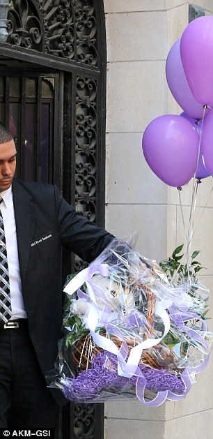 For Flynn: Miranda's three-year-old son Flynn wasn't left out, also receiving a little purple themed gift basket