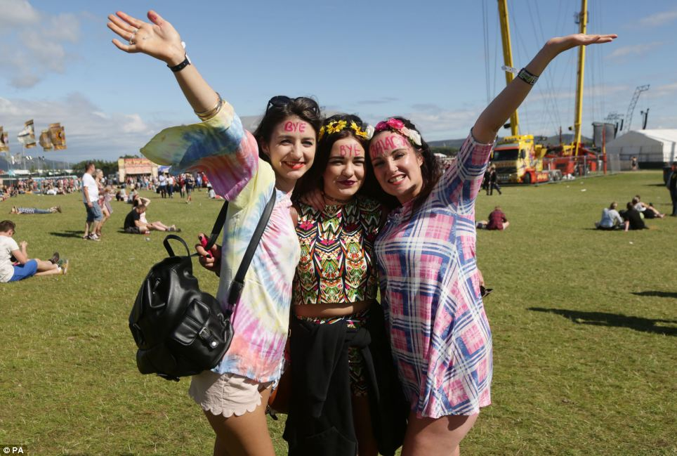 Sunny send-off: It is the last year T in the Park will be held at the Balado site in Kinross and festival goers have avoided the rain and mud baths