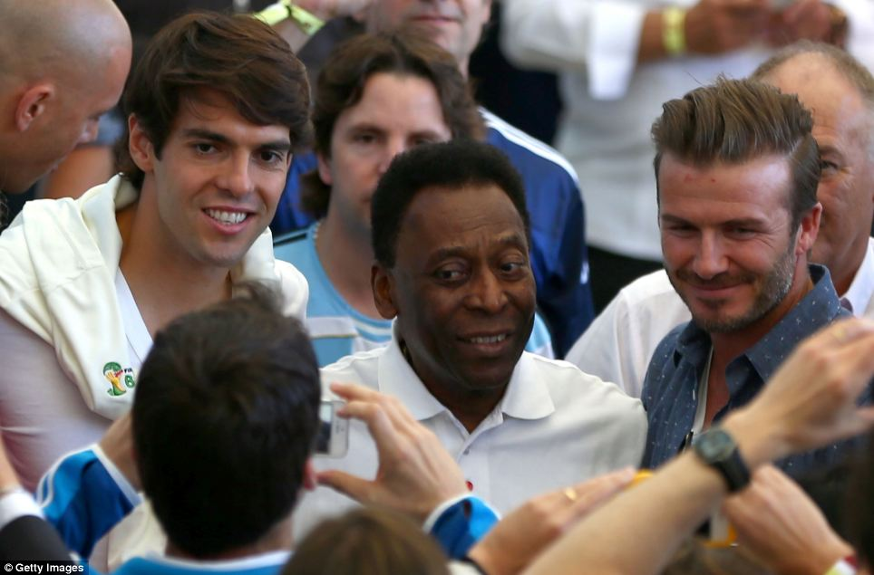 Stars of the game: Former Brazilian internationals Kaka and Pele with Beckham before the game