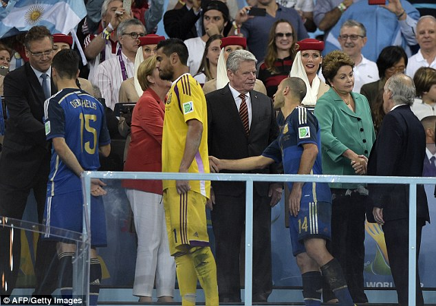 Long walk: Argentina lost 1-0 to Germany after extra-time in the World Cup final at the Maracana Stadium