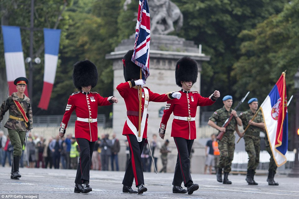 Three British soliders were among the 76 nations who took part in today's Bastille Day parade celebrations marking the anniversary of the storming of the Paris prison