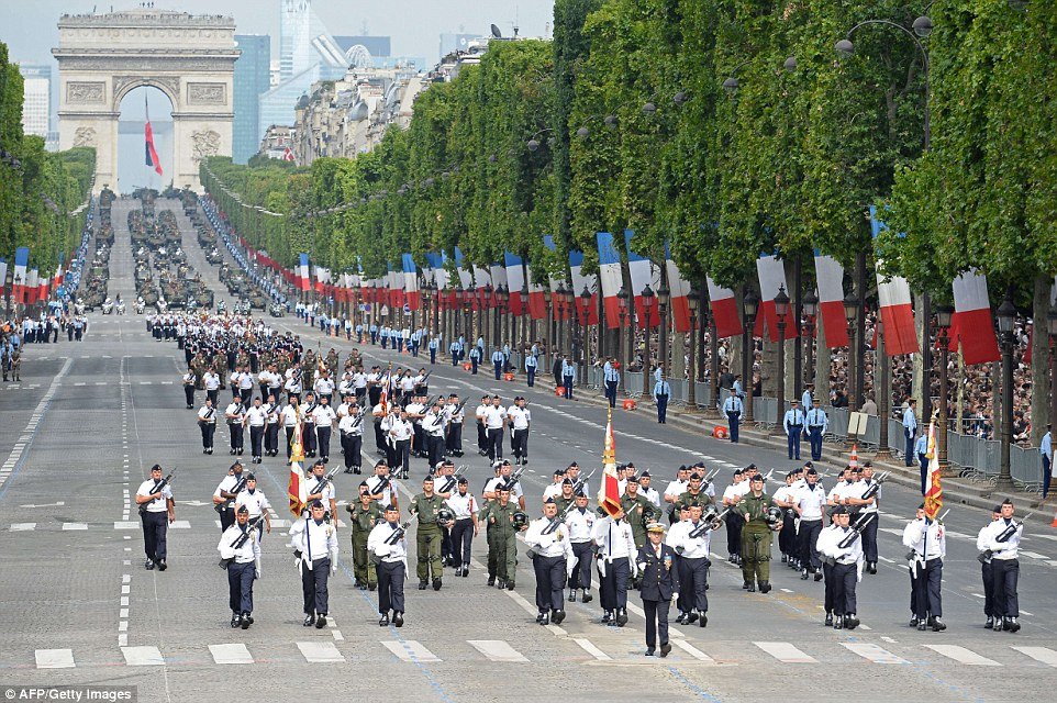 All arms of the French military were involved in this parade including these students from the Air Force's special school