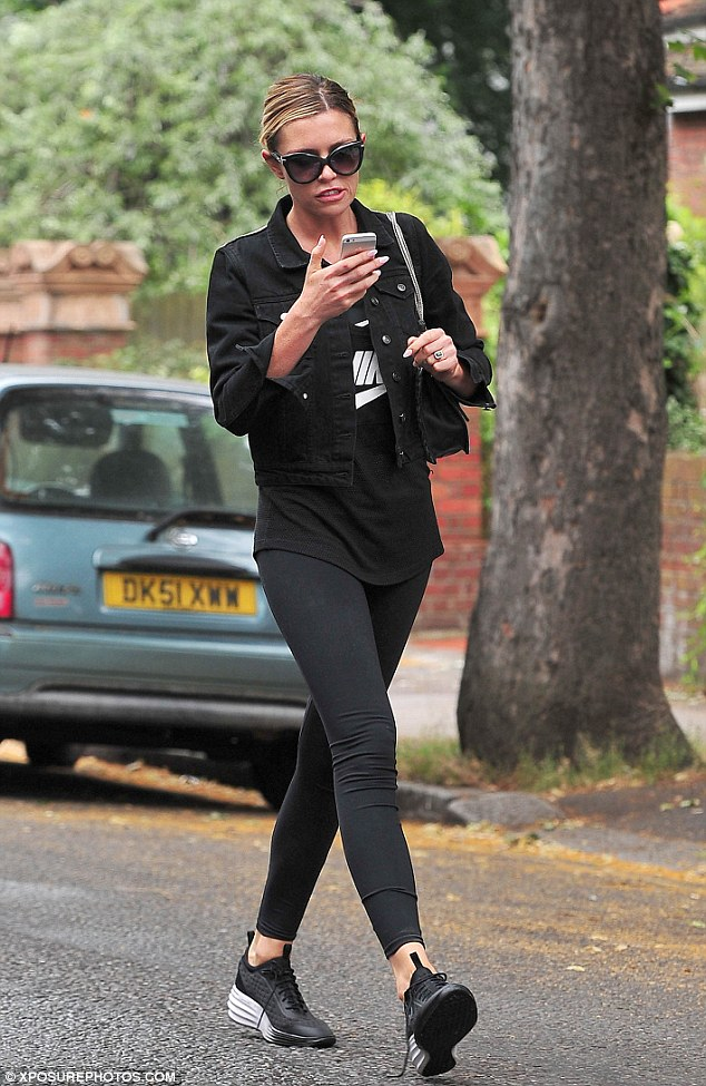 Back to black: After her car trouble Abbey was back on the streets the following day on her way to the gym in London