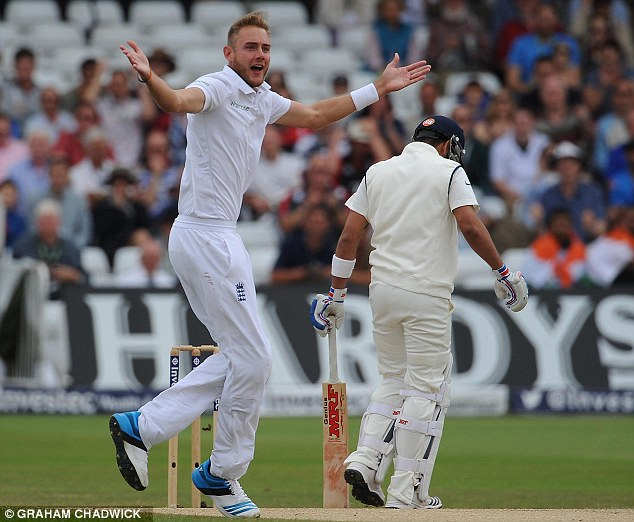 Disaster: Stuart Broad dismisses India batsman Virat Kohli for a second single figure total