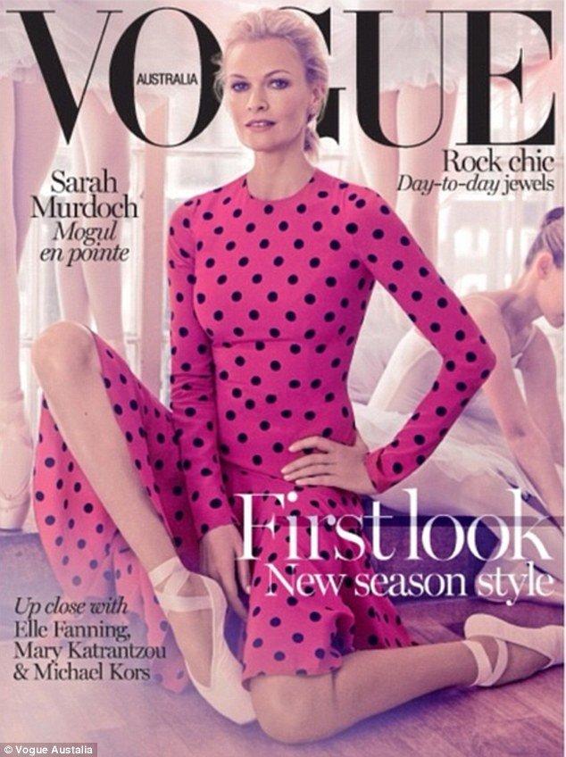 Ballerina beauty: Sarah Murdoch appears in a ballet-inspired photo shoot for the August edition of Vogue Australia