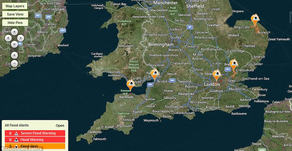 Visual aid: The Environment Agency had five flood alerts in place today  - including for the River Wid and Can in Essex, and the River Avon near Bristol