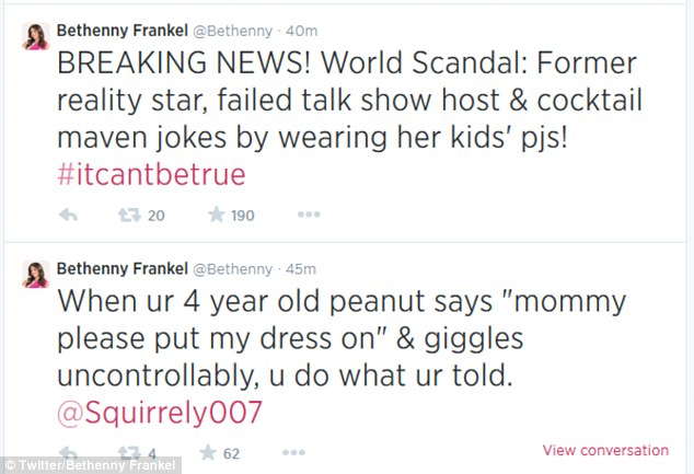 Fighting back: The former reality star tried to make light of the incident via Twitter on Monday, explaining that she had only been trying to make her daughter laugh