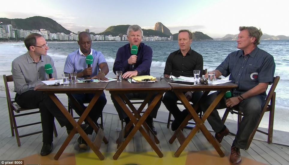 Casual look: From left, the ITV panel was made up of Martin O'Neill, Ian Wright, Adrian Chiles, Lee Dixon, and Glenn Hoddle. None wore a tie