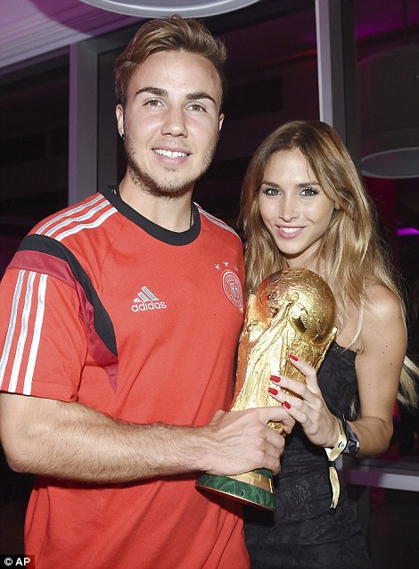 Germany's Mario Goetze and his girl friend Ann-Kathrin Broemmel