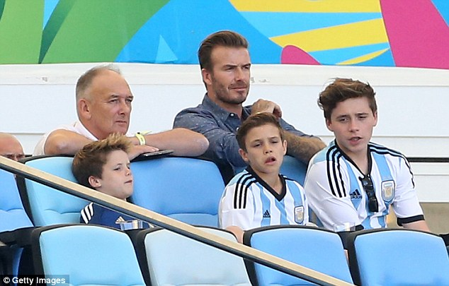Come on Messi! The Beckham boys were joined by David's father, David snr
