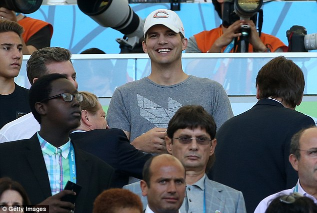 Making an appearance: Ashton Kutcher was amongst the celebrity contingent at the iconic Brazilian stadium on Sunday evening