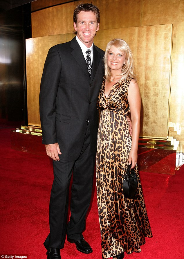 Tragic: Glenn's first wife and mother to their two children sadly died in 2008 after battling cancer, pictured at the Allan Border Medal in 2007