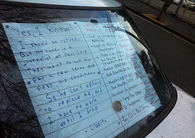 The letter as 'written' by the car on the rear of the vehicle which admits the journalist is being affected by the proposed pay cut