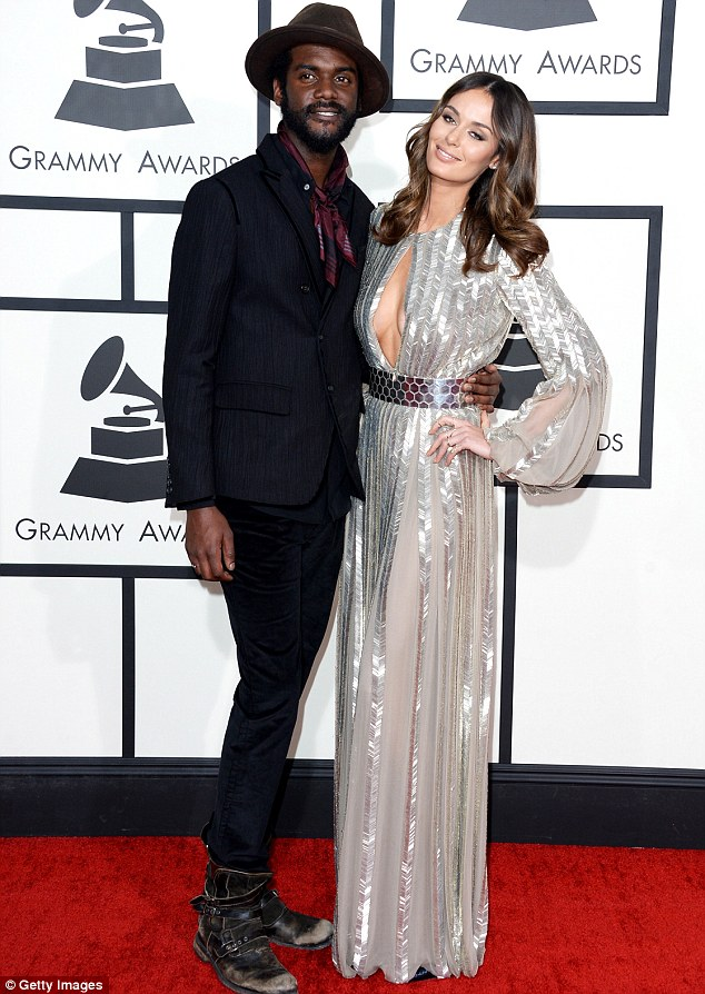Happy couple: The former Face mentor is currently enjoying a mini break with her blues musician beau Gary Clark Jr, pictured here at the Grammys