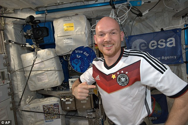 On top of the world: German astronaut Alexander Gerst on the international space station celebrates by putting an extra star on his shirt