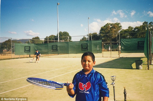 The tennis star, pictured here when he first started playing as a child, will spend the next few weeks training in Melbourne and Canberra for the US Open