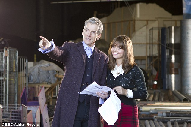 Behind the scenes: Peter Capaldi (left) as the doctor and Jenna Coleman (right) as Clara. Doctor Who has been hit by a further online leak with rough footage from the new series emerging almost six weeks early