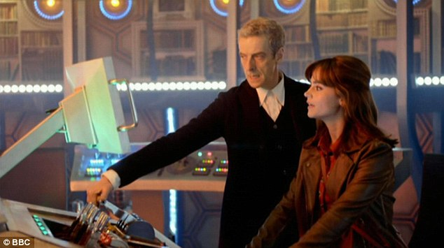 Stars: Peter Capaldi (left) as the doctor and Jenna Coleman (right) as Clara, in the new official trailer