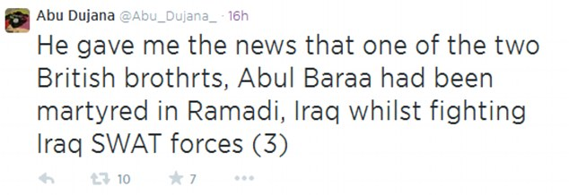 Death: Abu Dujana says that the Briton was killed fighting Iraqi government troops