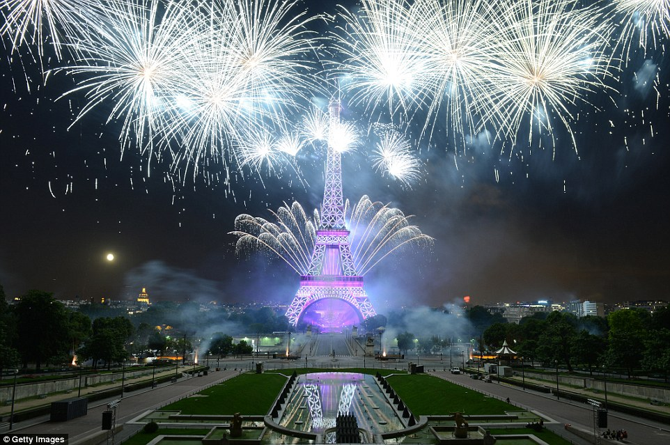 PARIS, FRANCE - JULY 14:   Fireworks explode around the Eiffel Tower during the annual Bastille Day celebrations on July 14, 2014 in Paris, France. The French National Day, commemorates the beginning of the French Revolution with the storming of the Bastille fortress and prison on July 14, 1789. (Photo by Frederic T Stevens/Getty Images) *** BESTPIX ***
