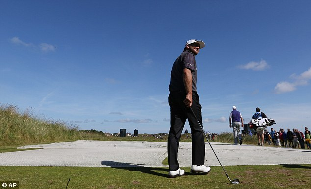 Chess game: Graeme McDowell in practice on the 13th at Hoylake