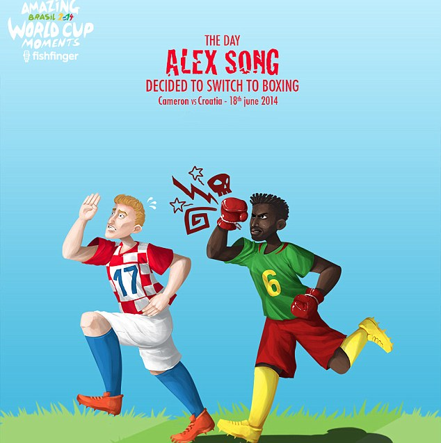 Seeing red: Alex Song was sent off for a crude whack on an opponent