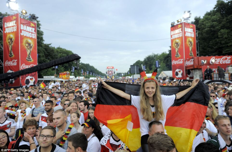 Thousands descended on the area to attend the party in the German capital, although the team itself was delayed for about an hour in Rio de Janeiro