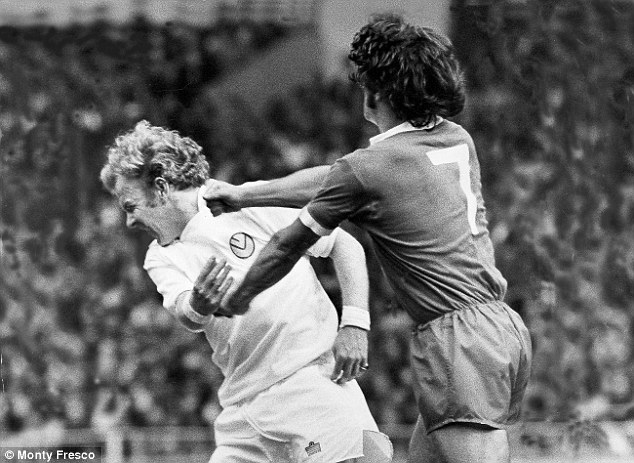 Packing a punch: Keegan lands a right hook on Leeds captain Billy Bremner in the 1974 Charity Shield