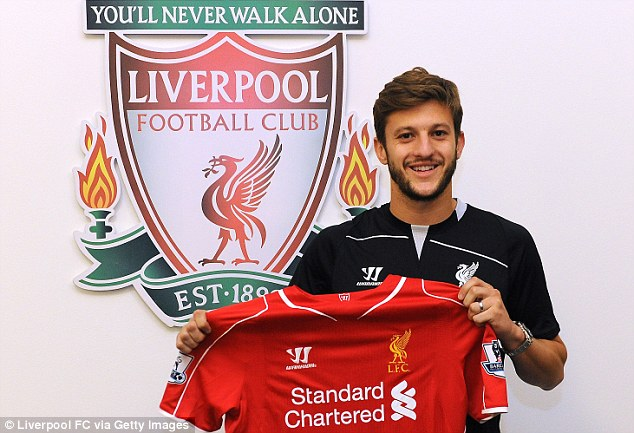 New arrival: England midfielder Adam Lallana has joined from Southampton