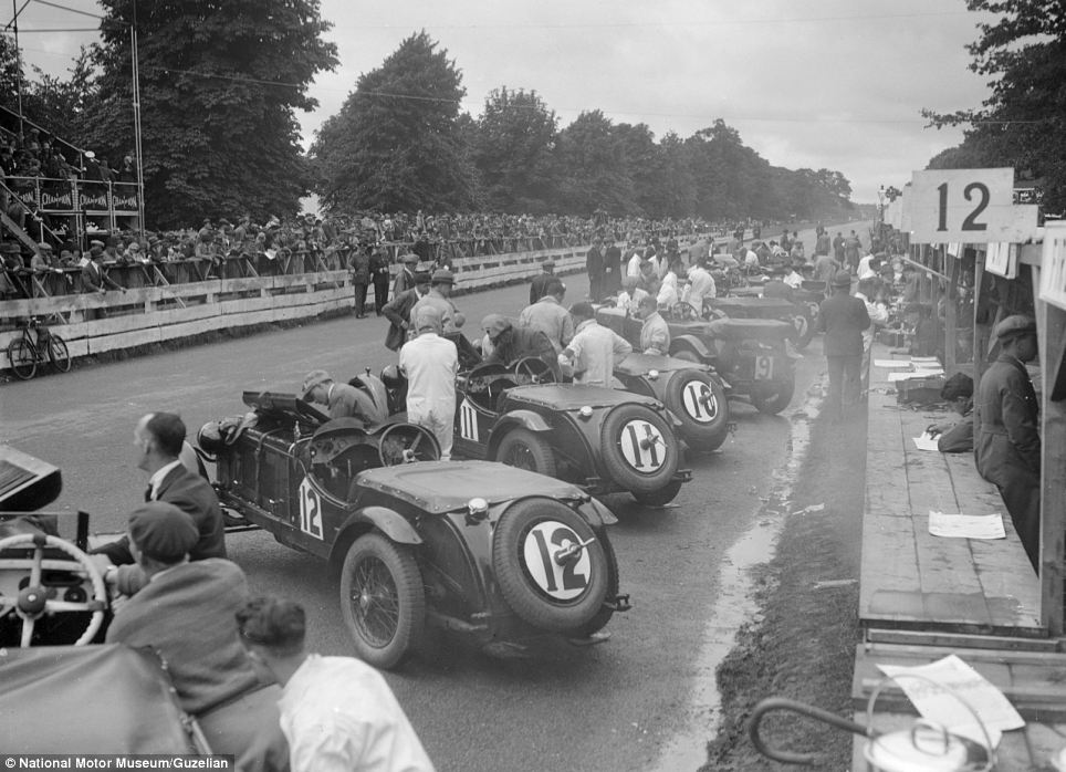 Racers line up along the track before the start of 1930 Irish Grand Prix - which was held in Phoenix Park in Dublin, Ireland