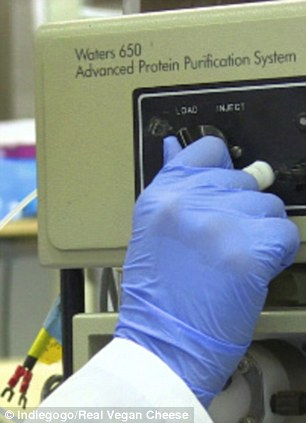 The biohackers have already raised more than $15,605 (£9,100) on Indiegogo and the next step is to turn the milk into cheese. Protein system is pictured