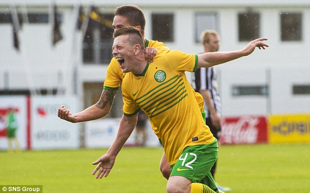 Match winner: Callum McGregor celebrates netting his debut goal in the 84th minute