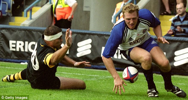 Early days: Mike Tindall goes over for Bath as they beat Wasps 36-12 at Loftus Road in 2000