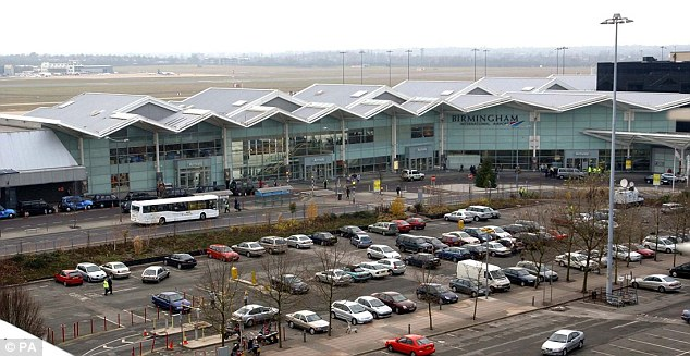 Inconvenienced: The two families were forced to transfer to Birmingham Airport to catch a plane to Spain