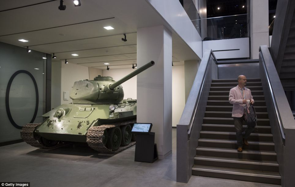 The museum was completely closed for six months while the restoration took place and was re-opened today after a £40million refurbishment. In total there will be more than 1,300 objects on display such as this tank, left, and many more that have never been seen before