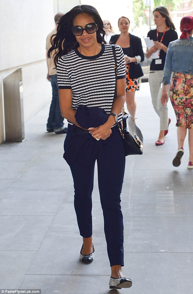 She's glowing! Sarah-Jane Crawford arrived at the BBC Radio 1 studios this morning with a huge smile across her face